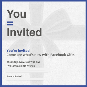 facebook sends press invitation for its gifts service in nyc on nov